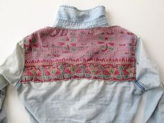 Sew some pretty fabric on button-down. From the Free People blog.