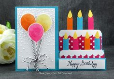 handmade birthday card from Cat's Ink.Corporated ,.. bright and beautiful balloons and candles ... step card format ... steps form a tiered cake with large candles ... Stampin' Up!