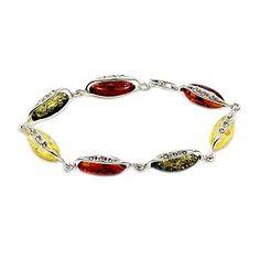 "Sterling Silver Natural Multicolor Baltic Amber, CZ Bracelet, 7.5"""