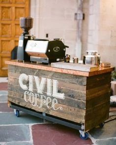This couple's favorite coffee shop, Civil Coffee, set up a coffee cart for guests who needed a mid-reception pick-me-up.