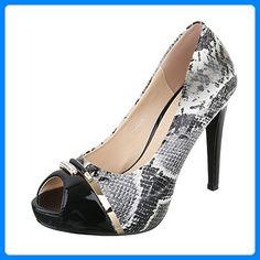 High Heel Damen-Schuhe Plateau Pfennig-/Stilettoabsatz High Heels Ital-Design Pumps Schwarz Grau, Gr 39, Xf12-A- - Damen pumps (*Partner-Link)