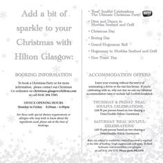 Stay from just £44.50 per person when attending a Christmas Party at Hilton Glasgow this Christmas.