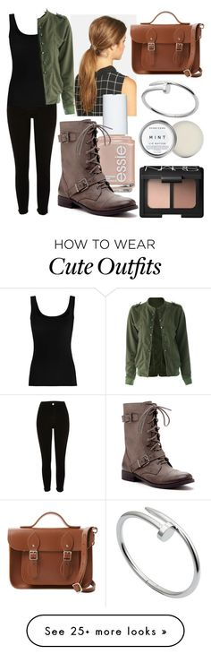 """""""Cute Outfit #163"""" by misspolyvoric on Polyvore featuring River Island, Ficcare, NARS Cosmetics, Essie, Twenty, The Cambridge Satchel Company, Cartier and Sole Society"""