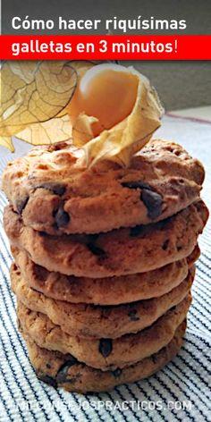 Como hacer riquísimas galletas en 3 minutos. ¡Microondas! #galletas #recetas #microondas #facil #rapido Easy Cooking, Cooking Time, Cookie Recipes, Dessert Recipes, Cookie Packaging, Microwave Recipes, Sweet Cakes, Sin Gluten, Four