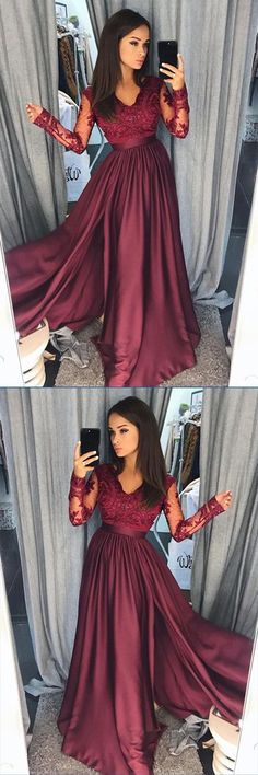 Burgundy Satin Long Sleeves A-line Long Prom Dresses Evening Dresses, M157 #Burgundy #Longpromdress #Aline #Eveningdress