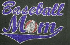 Baseball Mom Blue Rhinestone Transfer Iron On Hot Fix Motif Bling Applique - DIY *** Visit the image link more details.