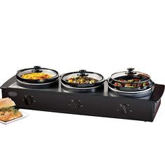 Triple Electric Slow Cooker U0026 Food Warmer W/ Three 1.5 Quart Buffet Serving  Pots