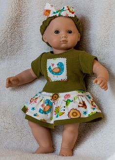 "Bitty Baby Clothes, Skirt, T-shirt, Headband w/Cute Birds and Butterflies fits Bitty Baby and 15"" Dolls"