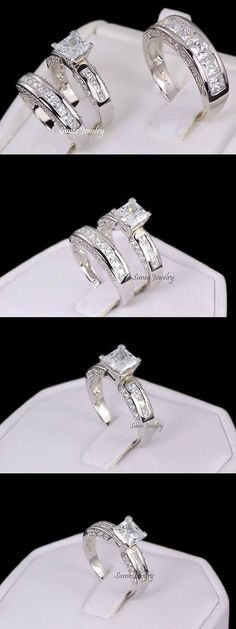 CZ Moissanite and Simulated 92878: His And Hers 3 Piece Sterling Silver Cz Wedding Engagement Ring Band Set Size 5 BUY IT NOW ONLY: $78.98