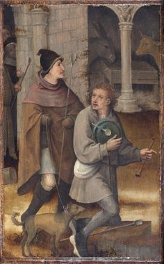 Two Shepherds. Left wing of a triptych, cut down on all sides, attributed to Hieronymus Bosch, Netherlandish, c. 1450 - 1516. Philadelphia Museum of Art