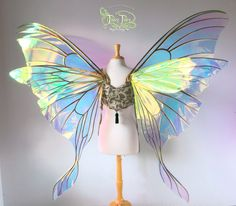 Luna Moth Giant Triple Panel Fairy Wings Back | Giant Luna Moth fairy wings for a customer. There is an extra middle panel in the back. These are done in clear Diamond Fire film with copper veining. GORGEOUS!!
