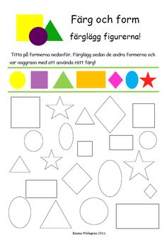 Preschool Lessons, Preschool Math, Preschool Worksheets, Learning Shapes, Baby Learning, Figure Ground Perception, Math Games, Activities For Kids, Swedish Language