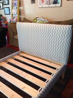 A twin egg crate mattress cover 1/2 foam batting (2.5 yards)  fabric industrial staple fun.     1/4 inch sheet of chemical free plywood.  I attached it to the headboard.  I got it 24x 43 which made it a bit taller.Fjellse bed redo!