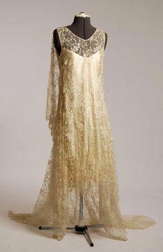 Cream silk lace wedding dress with silk satin slip, c. 1920's.