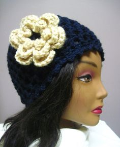Navy Blue Lacy Hat with Off White Flower Accent