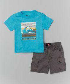 Look at this #zulilyfind! Turquoise Logo Tee & Gray Cargo Shorts - Infant & Toddler #zulilyfinds