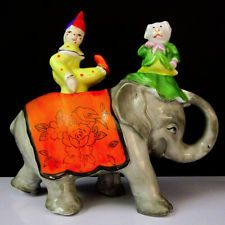 RARE CLOWN & DOG NODDERS ON CIRCUS ELEPHANT~ Vintage Salt And Pepper S Shakers