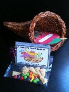 """Fruit of the Spirit"" Scripture cards, ""Fruit of the Spirit"" Cornucopia and Bugles (cornucopia)/Runts (fruit) treats - see more at www.shepherdmychild.com"