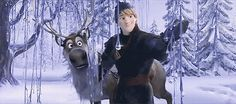 "Can we just take a moment to appreciate Sven's face here? Kristoff is just in love with it, but Sven is like ""Dude what the heck, that's not natural.."""