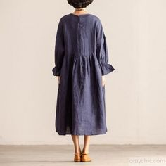 775648bbaf women cotton linen dress trendy plus size Round Neck Long Sleeve Women  Loose Navy Blue Dress