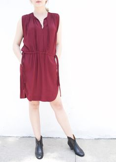Isabel Marant fall 2016   Nicky Dress in Burgundy and Dicker Boot in Black