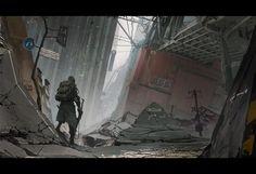 Survivor, Oliver Odmark on ArtStation at… Art Apocalypse, Apocalypse Landscape, Cyberpunk, Science Fiction, Arte Zombie, Zombie Art, Post Apocalyptic Art, Matte Painting, Ideas