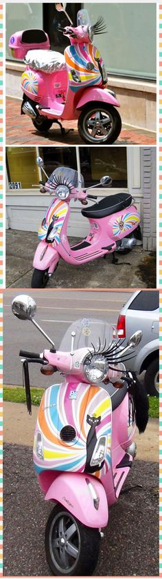 Pink Vespa with lashes - wish it were a motorcycle, but I can totally see me fixing up my next motorcycle with lashes!!!