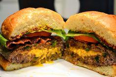 Cheddar-stuffed jalapeno burger. Dan and Tina are geniuses.