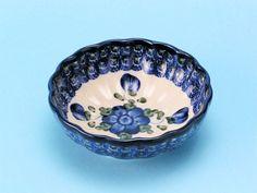 Polish Pottery: 023 ~ Bowl ~ Scalloped ~ DessertBR 163a ~ Blue Poppy     br1.5H X 4.5W