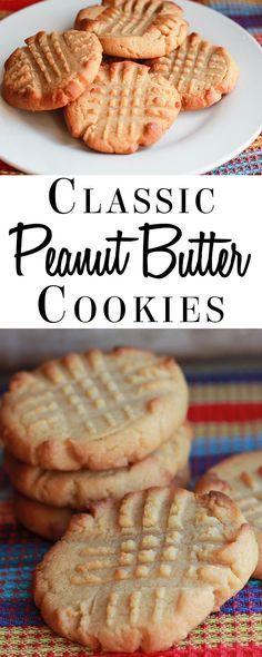 Classic Peanut Butter Cookies - Errens Kitchen - This classic Peanut Butter Cookies recipe makes beautifully soft, crisp cookies that melt in your mouth! Mini Desserts, Cookie Desserts, Cookie Recipes, Delicious Desserts, Dessert Recipes, Yummy Food, Breakfast Recipes, Classic Peanut Butter Cookie Recipe, Best Peanut Butter Cookies
