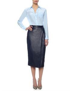 Navy Leather Wrapover Skirt Charlie Brear