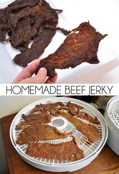 Homemade Beef Jerky Recipe Save big bucks making your own homemade beef jerky. We made up the cost of the dehydrator and then some pretty quickly! Simple Beef Jerky Recipe, Deer Jerky Recipe, Homemade Beef Jerky, Canning Recipes, Raw Food Recipes, Amish Recipes, Beef Recipes, Beef Jerky Dehydrator, Beef Jerky Marinade