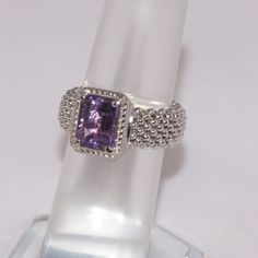 GIFT IDEA  Vicenza Amethyst Sterling Mesh Ring Spectacular Vicenza Sterling Silver Amethyst Mesh Ring / Size 7 (but has a little give in the mesh so could fit a size 8 or pointer finger) / the amethyst is brilliantly colored / marked .925 / thanks for shopping /  trades  PRICE FIRM  Vicenza Jewelry Rings
