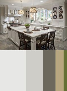 Beautiful kitchen and color scheme - love the drum shades above the island!
