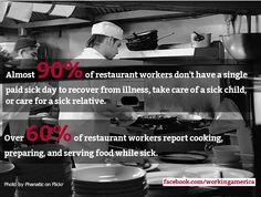 GRAPHIC: 90% of restaurant workers don't have a single paid sick day. #1u #paidsickdays