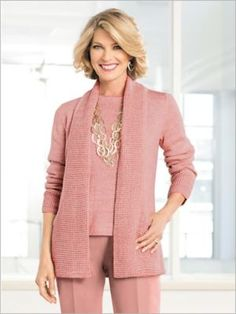 Shirts & Tops by Drapers & Damons. Comes in Light Pink Sand Heather, Size P-XL. Distinctly designed in two kinds of marled knit. The waffle-knit shawl collar becomes the open-front panels, and then cleverly forms the deep front pockets. The body is styled in a marled sweater knit for chic contrast. Hits at hip. Neckline: Spread Sleeve Length: Long Length: Misses 26''; Petites 25''; Women's 28'' Content: 100% Acrylic Care: Machine wash. Origin: Imported Why We Love It There's so much to l Marled Sweater, Sweater Cardigan, Fine Curly Hair, Pink Sand, Basic Tees, Knitted Shawls, Curly Hairstyles, Waffle Knit, Comfortable Fashion