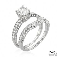 1a9d944519f4 Engagement ring and wedding band by Yael Designs  Ringsformenamazing