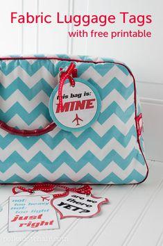 Fun Fabric Luggage Tags ---  Free Printable