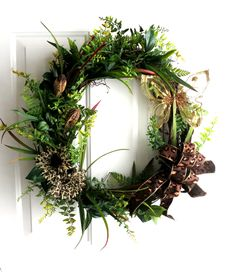 Everyday Wreath - Spring Wreath - Summer Wreath - Butterfly Wreath - Leopard Wreath  - Oval Wreath - Modern Wreath - Grapevine Wreath. $72.00, via Etsy.