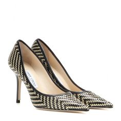 Jimmy Choo - Agnes woven leather pumps - Jimmy Choo puts a glamorous twist on the signature 'Agnes' pump in a black and gold woven design. The clean silhouette is shaped with a pointed toe and mid-heel height for sleek style and comfort combined. seen @ www.mytheresa.com
