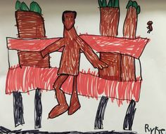 """Marker on paper studies of artist Horace Pippin's final painting """"Man on a Bench."""" #horacepippin #manonabench #brookeside #montessori"""