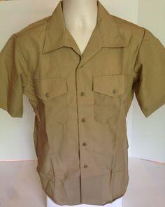 NEW Genuine GI Issue Mens USMC Marine Corps Dress Khaki Short Sleeve Shirt Sz 16