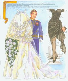 Fairy Tale wedding gown worn by Lady Diana from Fashion Icons paper doll book. Page 5 of 8 pages by David Wolfe.  Available from paperdollreview.com.