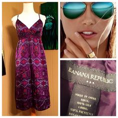 FINAL PRICE DROP Banana Republic Silk sundress Banana Republic plum Merlot silk dress. Fully lined. Gorgeous! Excellent condition! Size 2 adjustable straps. Pictures don't do it justice! Stunning Silk fabric! Banana Republic Dresses Midi