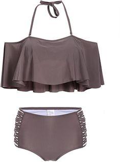 31e7d35ef3 Modfine Maillot de Bain Femme Sexy Bikini Une Pièce Tankini Push Up Col V  Swimwear: