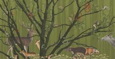 ZOO: behang 'bos' afmetingen 5m x 2.6m / wallpaper 'forest' size 5m x 2.6m