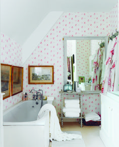 love this pretty pink and white floral sprig Catherine Rose Pink wallpaper by cabbages and roses. Perfect for bathroom, feature wall, bedroom or country cottage rustic interiors. Click through for more wallpaper ideas you'll love Country Cottage, Cabbages And Roses Home, Trendy Bathroom, Beautiful Bathrooms, House, Pink Wallpaper, House Interior, Shabby Chic Bathroom, Rose Pink Wallpaper