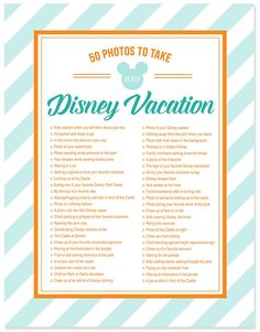 50 Photos to take on your Disney Vacation - Free Photo Checklist - simple as that