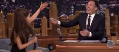 Ariana Grande does the PERFECT, most HILARIOUS impression of Celine Dion on The Tonight Show Starring Jimmy Fallon.