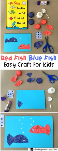 """Seuss Day Craft for Kids This Dr. Seuss day craft is perfect for after reading """"One Fish Two Fish Red Fish Blue Fish!"""" Make a fun card and work on writing skills as well! Dr. Seuss, Dr Seuss Week, Dr Seuss Activities, Fish Activities, Sequencing Activities, Book Activities, Red Fish Blue Fish, One Fish Two Fish, Rainbow Fish"""